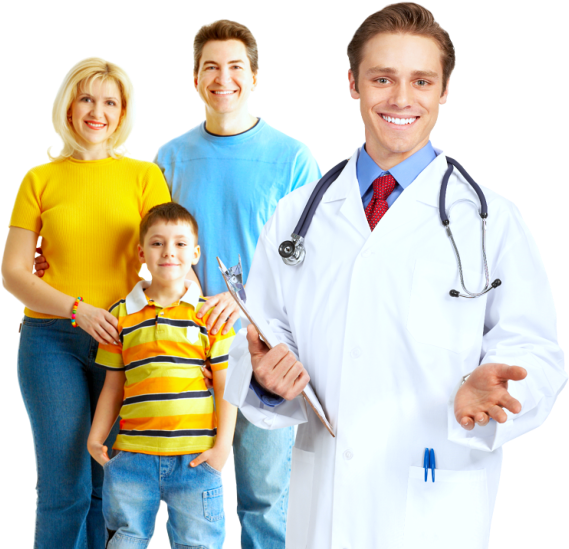 family with pharmacist