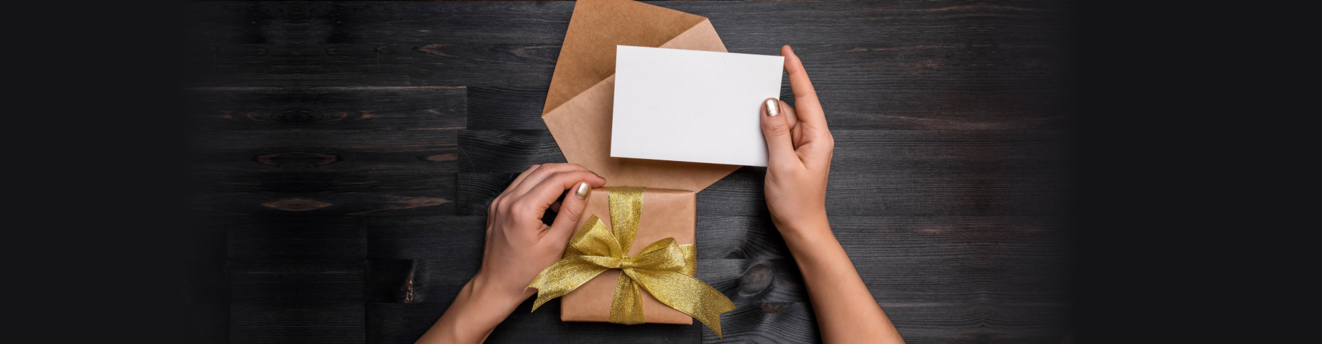 a gift box and a card